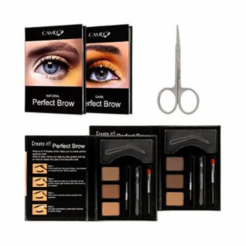 Perfect Brow Eyebrow Makeup Kit (2 Pack) - Premium Dark Brown and Natural Eyebrow Color With FREE Eyebrow Grooming Scissors - Ideal Eyebrow Hair Trimmer