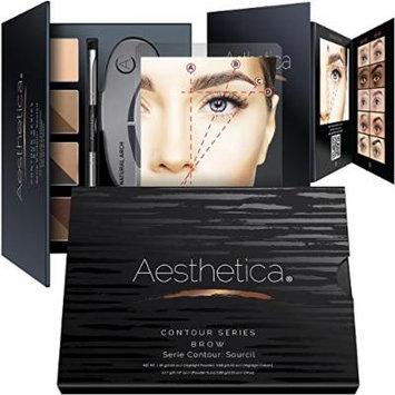 Aesthetica Brow Contour Kit - 16-Piece Eyebrow Makeup Palette - 6 Brow Powders, 5 Brow Stencils, Spoolie/Brush Duo, Tweezers, Brow Wax, Highlighter, Concealer & Instructions