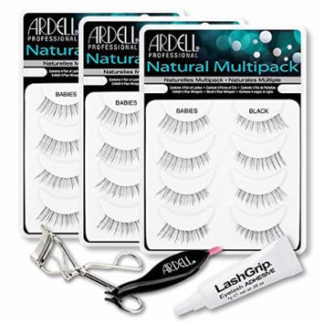 Ardell Fake Eyelashes Babies Value Pack - Natural Multipack Babies (Black, 3-Pack), LashGrip Strip Adhesive, Dual Lash Applicator, Cameo Eyelash Curler -Everything You Need For Perfect False Eyelashes