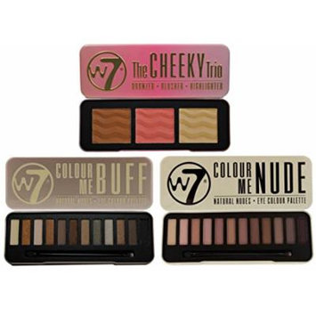 W7 Set- Colour Me Buff and Colour Me Nude, Natural Eye Shadow Palettes PLUS The Cheeky Trio Bronzer, Blusher & Highlighter Powder Palette