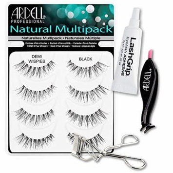 Ardell Fake Eyelashes Demi Wispies Value Pack - Natural Multipack Demi Wispies (Black), LashGrip Strip Adhesive, Dual Lash Applicator, Cameo Eyelash Curler - Everything For Perfect False Eyelashes