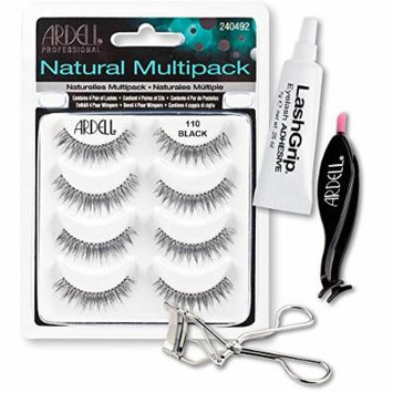 Ardell Fake Eyelashes 110 Value Pack - Natural Multipack 110 (Black), LashGrip Strip Adhesive, Dual Lash Applicator, Cameo Eyelash Curler - Everything You Need For Perfect False Eyelashes