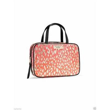 Victoria's Secret Coral Leopard Pink Travel Case Cosmetic Bag