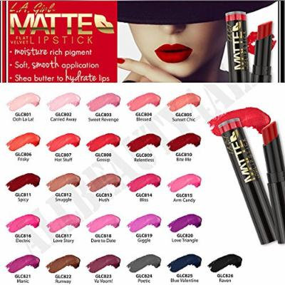 L.A. Girl Matte Flat Velvet Lipstick 26 piece set (1 of each shade) with a glamorous hair pin and 3 Lustrasilk packets