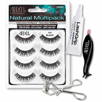 Ardell Fake Eyelashes 101 Value Pack - Natural Multipack 101 (Black), LashGrip Strip Adhesive, Dual Lash Applicator, Cameo Eyelash Curler - Everything You Need For Perfect False Eyelashes