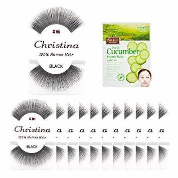 12packs Eyelashes - #80 Christina 100% Human Hair Fake Eyelashes