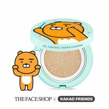 The face Shop Oil Control Water Cushion 15g + 15g #V203 Natural Beige [Kakao Friends Summer Edition]