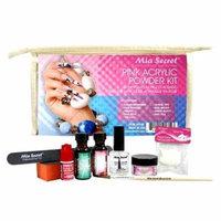 MIA SECRET PINK ACRYLIC POWDER PROFESSIONAL FULL NAIL KIT -Contents: Liquid Monomer, Pink Powder, Primer, Nail Glue, Top Coat, 20 Nail tips, Nail Brush, Emery Block, Nail File