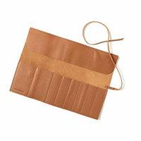 Large Makeup Brush Roll - Full Grain Leather - Cognac (brown)