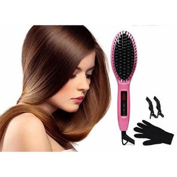 Lotus Hair Straightener Brush for Silky Hair Electric Digital Anion Ceramic Hair straightening Comb Pink with Heat Resistant Glove and 2 Alligator Hair Clips