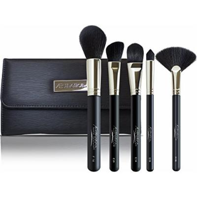 Aesthetica Pro Series 5-Piece Contouring and Highlighting Makeup Brush Set - Includes Large Powder, Foundation, Angled, Deluxe Fan & Precision Concealer Makeup Brushes - 100% Vegan & Cruelty Free