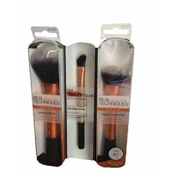 Real Techniques 3 Brush Set-Powder Brush, Expert Face Brush & Concealer Brush