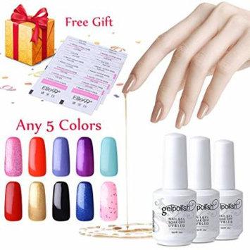 Elite99 Pick Any 5 Colors Soak Off Gel Nail Polish UV LED Color Nail Art Gift Set + 20 PCS Free Remover Wraps