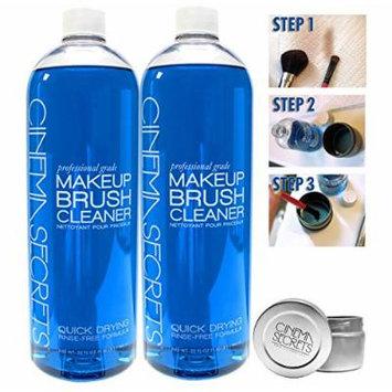 Value Pack: 2 Individual New Cinema Secrets Brush Cleaner Bottles Vanilla Scented 32oz + TIN Holder by Cinema Secrets