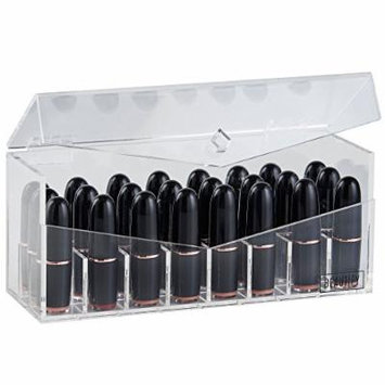 Beautify Acrylic 24 Slot Cosmetic Mac Lipstick Holder Case Storage Makeup Organizer with Lid