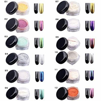 Yosoo 12 COLORS 2g/Box Glitter Magic Mirror Chrome Effect Dust Twinkle Nail Art Powder