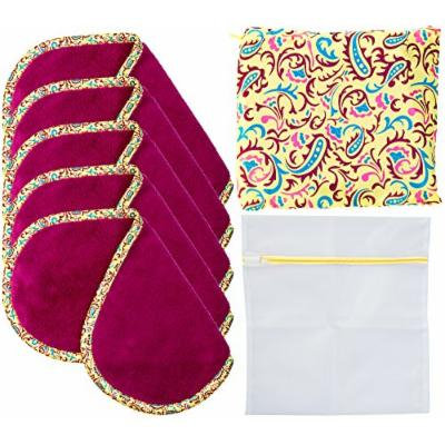 Set Of 5 FreshFace Makeup Remover Cloths by Campanelli, 5 Count with Laundry Bag and Decorative Storage Pouch (Paisley)