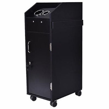 Giantex Black Beauty Salon Spa Rolling Trolley 4 Storage Trays &Locking Door Equipment