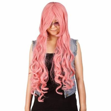 Simplicity Long Curly Fashion Wig with Curled Ends Swooped Bangs, Pink
