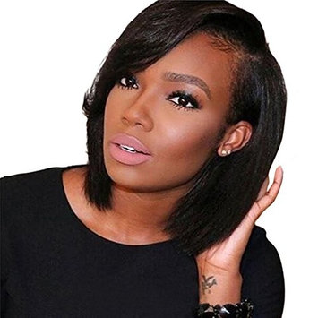 Aruki Hair Short Bob Human Hair Lace Front Wig Brazilian Virgin Glueless Silky Straight Hair Wigs with Baby Hair for Black Women 10A Grade 136 Lace Wig Natural Color Hair 8 Inch 130% Density
