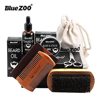 Bluezoo Beard Conditioner for Men-Encourages Growth-Natural Oil Leave in Conditioner That Soothes Itching, Thickens, Strengthens, Softens, Tames and Styles Facial Hair Growth (Beard Care kit-1#)
