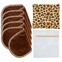 Set Of 5 FreshFace Makeup Remover Cloths by Campanelli, 5 Count with Laundry Bag and Decorative Storage Pouch (Leopard)