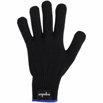 Eqoba Professional Heat Resistant Glove for Curling and Flat Iron Hair Styling Heat Blocking Tool Black Glove Blue Cuff