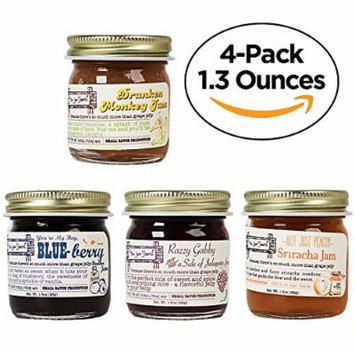 4-Pack Signature Jam Set, Natural Flavored, Low Sugar, Souvenir Boxed Gourmet Jelly Sampler Gift (Blueberry Bourbon, Banana Rum, Peachy Sriracha, Raspberry Jalapeño) by The Jam Stand (4-Pack (1.3 oz))