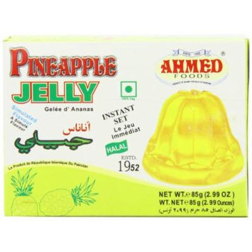 AHMED Halal Jello Vegetarian Crystal Jelly, Pineapple, 85 Gram (Pack of 12)