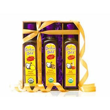 USDA Organic Garlic Gold Best Cooking Gift, Pack of Assorted Flavor Salad Dressings: Balsamic Vinaigrette, Lemon Meyer Vinaigrette & Red Wine Vinaigrette- No MSG, Sugar Free