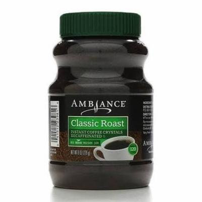 One - 8oz Ambiance Instant Coffee Crystals Decaffeinated, Classic Roast, Medium, Makes 120 Cups