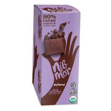 NibMor Extreme Dark Chocolate with Cacao Nibs - Made from 80% Cacao - 2.2 oz. per bar (Pack of 12)