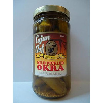 Cajun Chef Crisp Pickled Okra 24oz Glass Jar (Pack of 4) Select Flavor Below (Mild)
