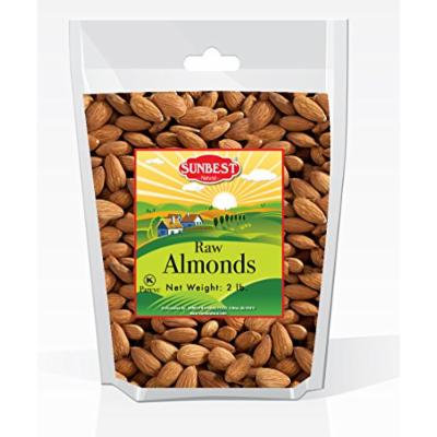 SUNBEST Whole Raw Almonds (Whole, Raw, Shelled, Unsalted) in Resealable Bag (2 Lb)