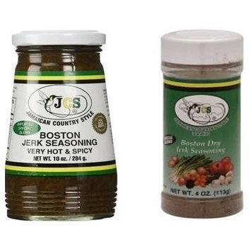 Jamaican Style Wet Boston Jerk Seasoning and Dry Jerk Seasoning Bundle (2 Bottles)