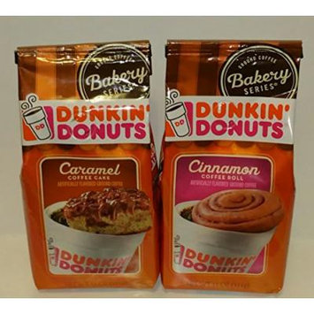 Dunkin' Donuts Bakery Series Caramel Coffee Cake & Cinnamon Coffee Roll Ground Coffee Bundle (11 oz.Bag of Each) (Set of 2 Bags)