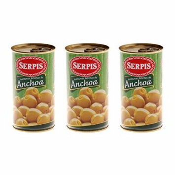 Serpis Anchoa Olives Spanish Green Olives Stuffed With Anchovy 150 gram (Pack of 3)