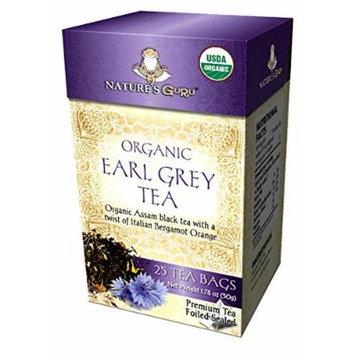 Nature's Guru Organic Earl Grey Tea Bags 25 CT (Pack of 4)