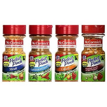McCormick Perfect Pinch Bundle (Pack of 4) includes 1-Bottle Roasted Garlic & Bell Pepper, 2.37 oz + 1-Bottle Caribbean Jerk, 3.25 oz + 1-Bottle Cajun, 3.18 oz + 1-Bottle Steak, 3.87 oz