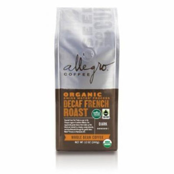 Allegro Whole Bean Coffee, 2-12oz Bags (Decaf Organic French Roast)