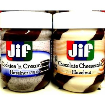 Jif Hazelnut Spreads Variety 4 Pack, 2 Jars of COOKIES 'N CREAM, 2 Jars of CHOCOLATE CHEESECAKE Hazelnut Spreads + FREE 24 Pack of Heavy Duty Plastic Spoons. 13 oz Jars