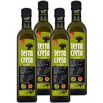 Terra Creta Estate Protected Designation of Origin from Kolymvari in Crete, Greece Extra Virgin Olive Oil - Winner of 9 International Taste Awards - 500ml - 4 Pack