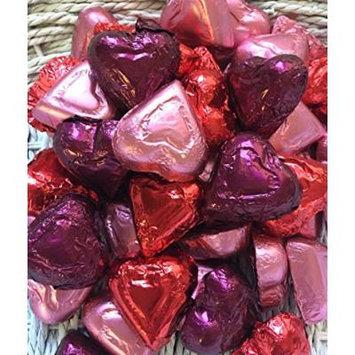 Red, Pink and Burgundy Assorted Milk and Dark Chocolate Hearts - 1 LB Madelaine Premium Valentine's Chocolate