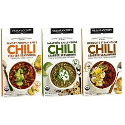 Urban Accents All Natural Organic Gluten Free Chili Mix Seasoning 3 Flavor Variety Bundle: (1) Savory Pumpkin Chili, (1) Jalapeno Chili Verde, and (1) Mesquite Steakhouse Chili, 1-1.75 Oz Ea (3 Tot)