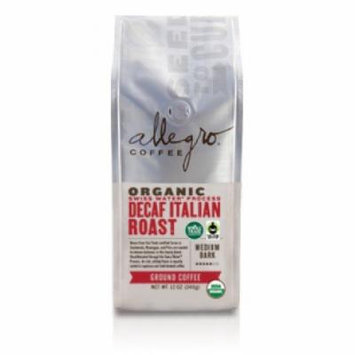 Allegro Ground Coffee 2, 12 oz Bags (Decaf Organic Italian Roast)