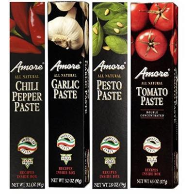 Amore Chili Pepper, Garlic, Tomato, and Pesto Paste 4 Variety Pack