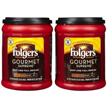 Fresh Taste of Folgers Coffee, Gourmet Supreme Ground Coffee, Dark Flavor, 10.3 Oz Canister - (2 pk)