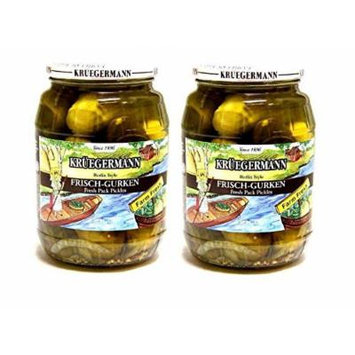 SHIPS FREE Get 2 (32 fl.oz) Jars Frischgurken Pickles Kruegermann Berlin Style (64 fl.oz total)