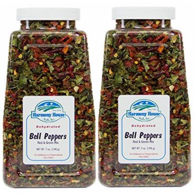 Harmony House Foods, Dried Mixed Red & Green Bell Peppers, Diced (12 oz, Quart Size Jar) - Set of 2