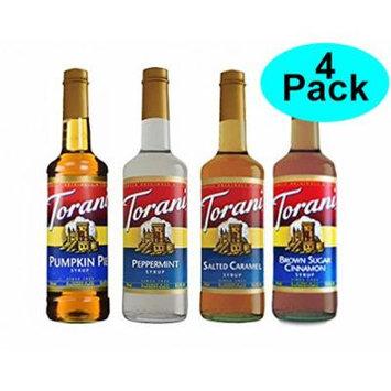 Torani Fall Winter Syrup 4 Pack, Pumpkin Pie, Peppermint, Salted Caramel & Brown Sugar Cimmanon